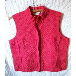 Orvis Red Silk Quilted Zipper Front Vest - Size Lg